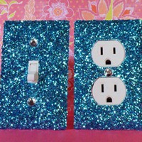SET of Chunky LIGHT BLUE Glitter Switch Plate / Outlet Covers ANY STYL