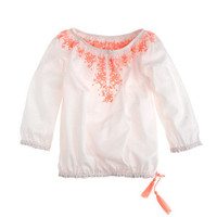 Girls&#x27; embroidered peasant top - long sleeve - Girl&#x27;s shirts - J.Crew