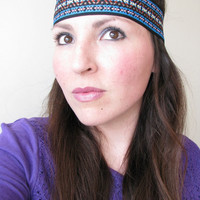 Tribal Native Headband, Wide Indian Headband, Blue, brown and rust Ethnic print, Indie headband