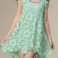 Sleeveless Chiffon Lace Dress