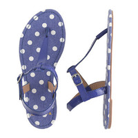 Girls&#x27; patent T-strap sandals in polka dot