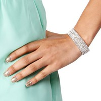 Silver/Crystal 5 Row Stretch Bracelet