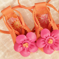 Infant Ballet Flats in Orange and Pink 6m 12m 18m by BebeSophie