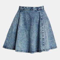 Topshop Moto Acid Wash Denim Skater Skirt | Nordstrom