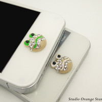 1PC Bling Crystal  Cute Frog Head Apple iPhone Home Button Sticker for iPhone 4,4s,4g, iPhone 5, iPad, Smart Phone Charm