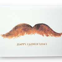 Mustache Watercolor Fathers Day Card