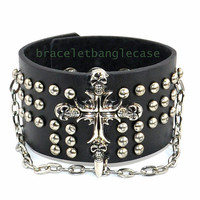 Black leather cuff bracelet with silver cross bracelet,skull bracelet  ,silver chain bracelet cuff bracelet best friend gift  d-341