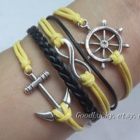 Leather bracelet,Anchor bracelet,Infinity bracelet,Rudder bracelet-yellow&black wax rope leather braided bracelet,Parent-child gift bracelet