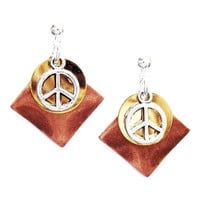 Peace Sign Earrings - Copper/Gold/Silver mixed metal color combination with Silver Peace Sign Charm