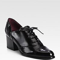 Stuart Weitzman - Manned Leather Lace-Up Oxford Pumps - Saks Fifth Avenue Mobile