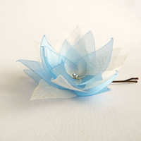 Gold and sky blue organza flower hair clip with Swarovski crystal OOAK by Jye, Hand-made in France