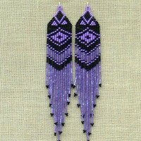 Black and Purple Earrings. Native American Beaded Earrings Inspired. Shoulder Dusters. Extra Long Earrings. Beadwork