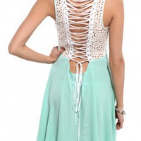 Eyelet Lace Back A-Line Dress