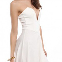 Ponte Deep V Flare Dress in Ivory