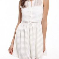 Burnout Striped Shirt Dress in White
