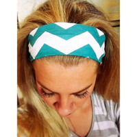 Teal // Cream Chevron - Fabric Headband