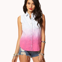 Frayed Ombré Chambray Shirt