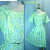 1950s Lime Chiffon Dress / Vintage 50s Pleated Dress / l-xl