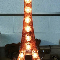 Vintage Metal Letter light Eiffel Tower sign Marquee wedding Industrial
