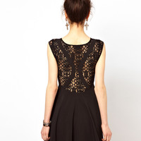 Ginger Fizz Skater Dress With Lace Insert
