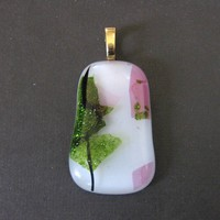 Fused Glass Pendant, Jewelry Slide, White, Green, Pink, Large Gold Bail - Garden Serenade - 2124