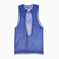 Purple Label - Women&#x27;s Crystal Metallic Mesh Top (Royal)