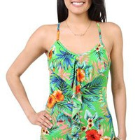 tropical print racer back tank top with a ruffle front - 1000048035 - debshops.com