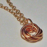 Copper Love Knot Pendant Necklace | LaraJordanJewelry - Jewelry on ArtFire