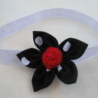 Black & White Polka Dot Headband - Red Rosette Flower Satin Elastic Headband - Baby Girl,Toddler, Girl