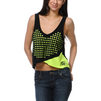 Fox Girls Air Trick Black & Neon Yellow Crop Tank Top