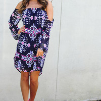 Electric Feel Aztec Dress: Navy Blue | Hope's