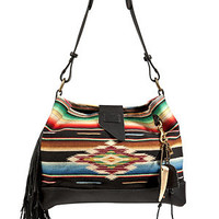 Ralph Lauren Collection - Leather/Cotton Serape Large Shoulder Bag in Multi Black
