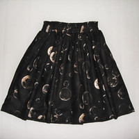 Retro high waisted galaxy lunar eclipse  moon black space skirt