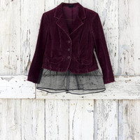 Tulle Romantic for Words Oxblood Upcycled Jacket raspberry tulle eco corduroy boho blazer refashioned burgandy