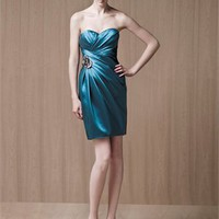 Sweetheart Neck Sheath with flower Satin Prom Dress PD0565