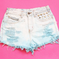 Pastel tie dye medium waist denim shorts S