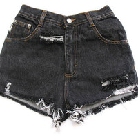 High waisted dark denim jean shorts XXS