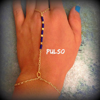 Gold Hand Chain, Simple Hand Chain, Gold and Blue Hand Chain, Cobalt Blue, Slave Bracelet, Hand Bracelet, Ring to wrist bracelet, bracelet