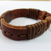 Adjustable Cuff Bracelet Made Of Leather and Cotton by sevenvsxiao