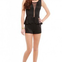 Deep Mesh Insert Peplum Playsuit