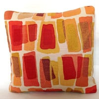 Red Yellow Pillow Cover - 20x20 inch DESIGNER Decorative Cushion Cover - Modern Red Orange Yellow Blocks, More Sizes Available