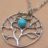 Bird Tree and Turquoise Necklace by turquoisecity on Etsy