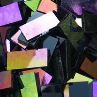 50 Black Opal Iridized Stained Glass Mosaic Tile 1/2 Inch X 1 Inch | Stainedglasstile - Fine Art Supplies on ArtFire
