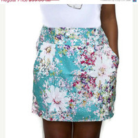 ON SALE Turquoise Floral Mini Shirred Skirt with 2 by LoNaDesign