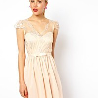 ASOS Chiffon Skater Dress With Metallic Lace Wrap Top at asos.com