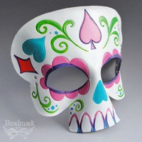 Leather Mask - Sugar Skull In A Riot of Color | beadmask - Leather Craft on ArtFire