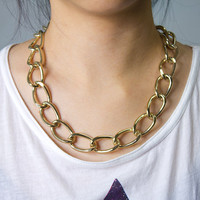 Chunky Gold plated Chain Necklace by AstralMetal on Etsy