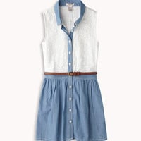 Chambray & Lace Shirt Dress | FOREVER 21 - 2046852619