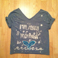 Sparkle I'm really a mermaid Cut off Crop Off the by GlitternLace