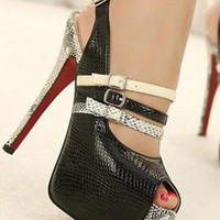Ladies Fashion High Heel Strap Snake Print Shoes